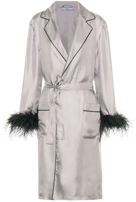 Prada Feather-trimmed silk robe