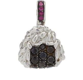 Nadine Ghosn Onighiri 18K White Gold, Diamond And Sapphire Charm