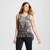 Knox Rose Women's Printed Woven Peplum Tank with Embroidery