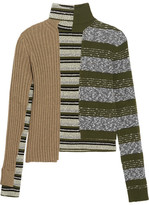 Maison Margiela Striped Ribbed Wool-blend Turtleneck Sweater - Green
