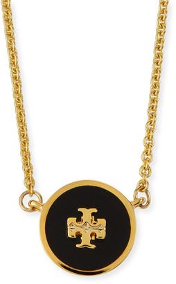 Tory Burch Kira Enamel Pendant Necklace, Black