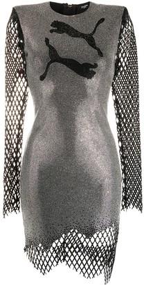 Balmain x Puma rhinestone-embellished fitted dress