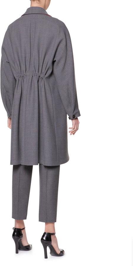 Giorgio Armani Double-Faced Gabardine A-Line Coat, Granite