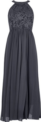 Wallis **Jolie Moi Dark Grey Lace Maxi Dress