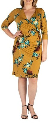 24/7 Comfort Apparel 24/7 Women's Plus Size Comfort Apparel Bloom Fit and Flare Plus Size Pocket Dress