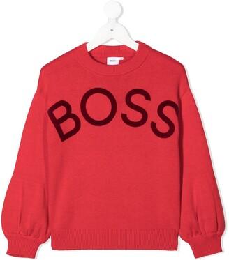 Boss Kidswear Logo Intarsia Jumper