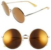 Dolce & Gabbana Women's 56Mm Mirrored Round Sunglasses - Gold