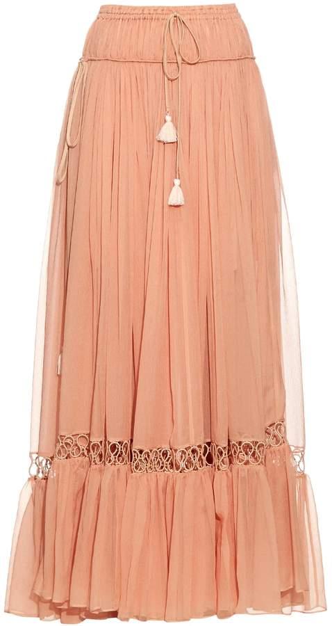 Chloé Silk-crepon drawstring maxi skirt