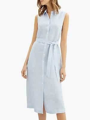 Jaeger Linen Stripe Tie Dress, Blue/White
