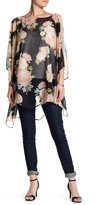 David & Young Floral Flowy Cold Shoulder Poncho