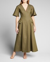 Thumbnail for your product : Lela Rose Stretch Denim Seamed Midi Dress