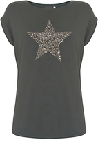 Mint Velvet Khaki Sequin Star T-Shirt, Khaki