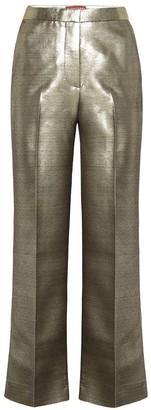 ALEXACHUNG Metallic high-rise straight pants