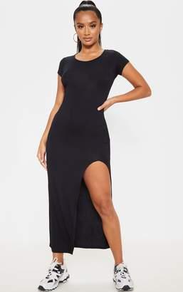 PrettyLittleThing Petite Black Jersey T Shirt Midi Dress