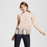 Hint of Mint Women's Scallop Embroidered Lace Trim Tank - Hint of Mint (Juniors') Pink