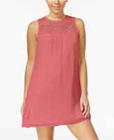 As U Wish Juniors' Illusion-Lace Shift Dress