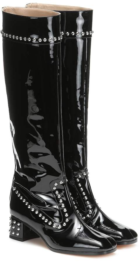 64e8a8eff37 Black Patent Knee High Boots - ShopStyle
