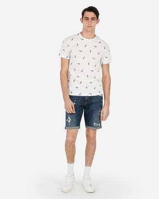 Express Slub Pineapple Print Crew Neck T-Shirt