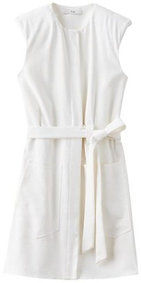 Tibi Chalky Draped Sleeveless Mini Shirtdress
