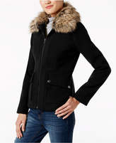 Maralyn & Me Juniors' Faux-Fur-Collar Jacket