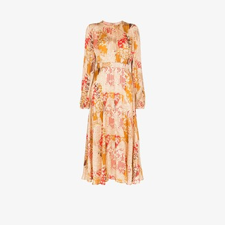 By Ti Mo Floral Pleated Midi Dress