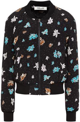 Diane von Furstenberg Caitlyn Printed Silk-crepe Bomber Jacket