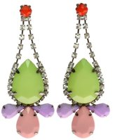 Johnny Loves Rosie Lime and Pastel Drop Earrings of Length 7.5cm