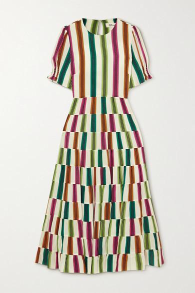 Diane von Furstenberg Zadie Cutout Striped Crepe De Chine Midi Dress - Off-white