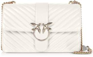 Pinko Love Classic Mix White Quilted Nappa Leather Shoulder Bag