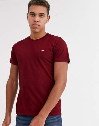 Levi's original small batwing logo t-shirt in warm cabernet-Red