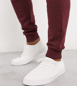 ASOS DESIGN Wide Fit trainers in white knitted mesh
