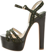 Brian Atwood Patent Platform Sandals
