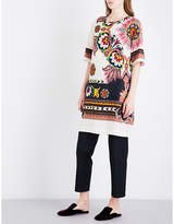 Etro Ladies White Floral Exposed zip And Paisley-Print Crepe Tunic