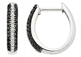 3/4 Carat Black & White Diamond Sterling Silver Hoop Earrings