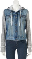 Mudd Juniors' Knit Sleeve Jean Jacket