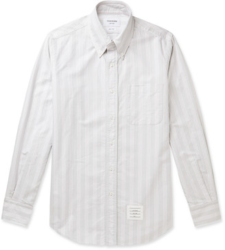 Thom Browne Button-Down Collar Appliqued Striped Supima Cotton Oxford Shirt