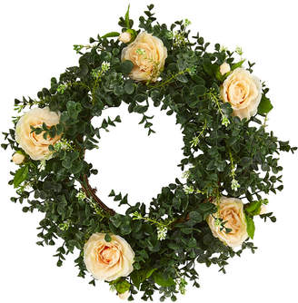 Nearly Natural Eucalyptus And Camellia Double Ring Artificial Wreath With Twig Base
