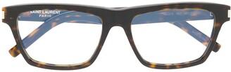 Saint Laurent Tortoiseshell Square-Frame Glasses