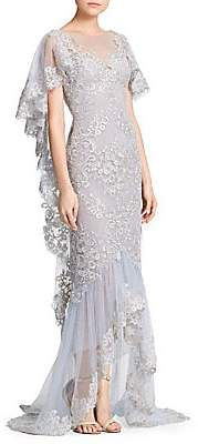 Marchesa Women's Metallic Corded Lace Ruffle Sleeve Gown