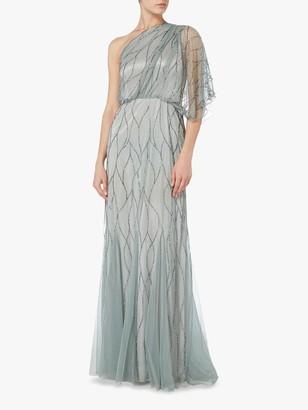 Raishma One Shoulder Embellished Gown, Slate Grey