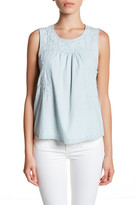 Susina Embroidered Chambray Tank (Petite)