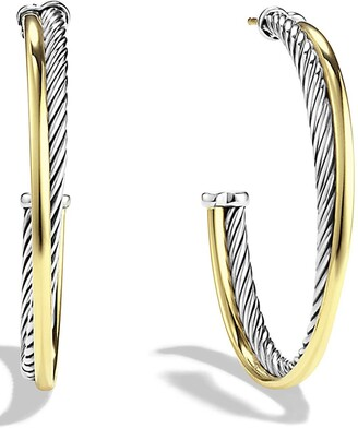 David Yurman 'Crossover' Extra-Large Hoop Earrings with Gold