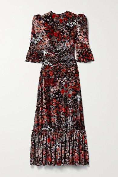 Thumbnail for your product : The Vampire's Wife The Festival Ruffled Floral-print Velvet Midi Dress - Black