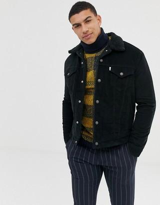 Levi's cord borg trucker jacket in black