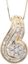 JCPenney FINE JEWELRY 3/4 CT. T.W. Diamond Two-Tone 10K Gold Swirl Pendant Necklace