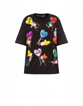 Love Moschino T-shirt Lollipop Dolls Woman Black Size 38 It - (4 Us)