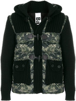 Bark knit-panelled padded coat