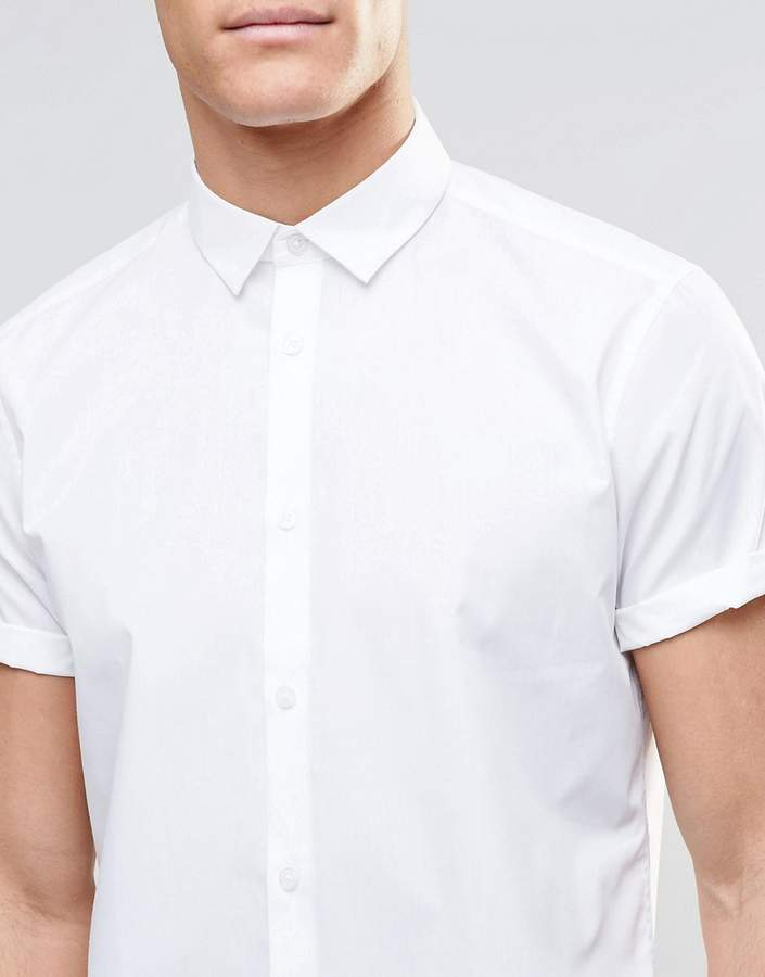 Asos Regular Fit Smart Shirt In White With Short Sleeves