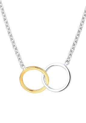 Elli Women's 925 Sterling Silver Gold Plated Necklace with Cross Pendant of Length 45 cm