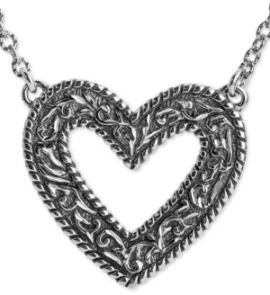 """American West Decorative Open Heart 22"""" Pendant Necklace in Sterling Silver"""